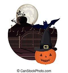 halloween pumpkin with bat flying in cemetery