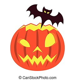 halloween pumpkin with bat flying