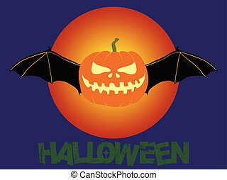 Halloween pumpkin with bat wings and text