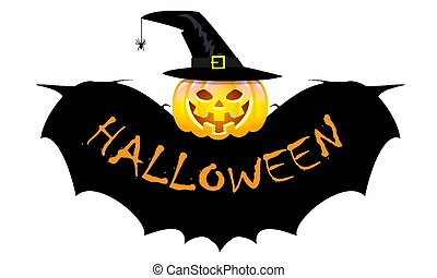 halloween pumpkin with bat wings and witch hat