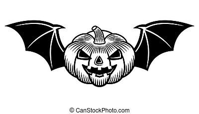 Halloween pumpkin with bat wings black vector