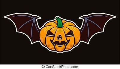 Halloween pumpkin with bat wings vector object