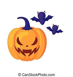 halloween pumpkin with bats flying