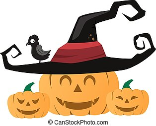 Halloween pumpkin with black witches hat. Vector illustration.