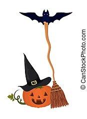 halloween pumpkin with broom and bat