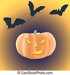 Halloween pumpkin with burning eyes on a dark background with bats