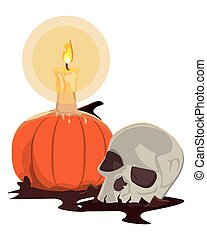 halloween pumpkin with candle and skull