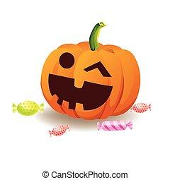 Halloween pumpkin with candy