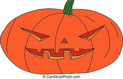 halloween pumpkin with carved face