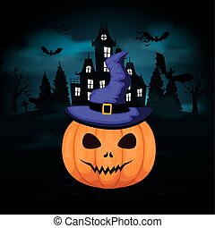 halloween pumpkin with castle in dark night