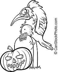 halloween pumpkin with crow cartoon - Black and White...