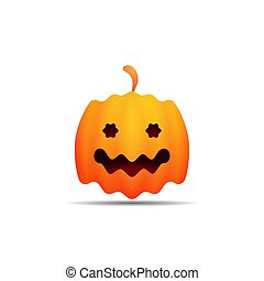 Halloween pumpkin with cute smiley face. Vector illustration isolated on white background.