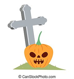 halloween pumpkin with dark face and cemetery cross