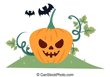 halloween pumpkin with dark face in the field and bats flying