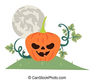 halloween pumpkin with dark face in the field at night