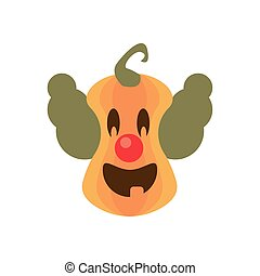 halloween pumpkin with evil clown flat style icon