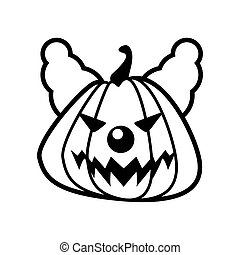 halloween pumpkin with evil clown line style icon