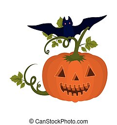halloween pumpkin with face and bat flying