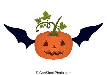 halloween pumpkin with face and bat wings