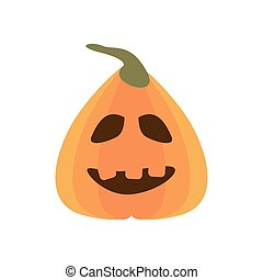 halloween pumpkin with face flat style icon