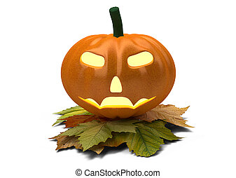 halloween pumpkin with fall leaves isolated on white