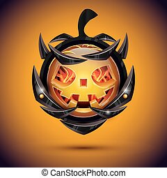 Halloween Pumpkin with Fire Flames on Armor. 3d Emoji Smiley.