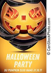 Halloween Pumpkin with Fire Flames on Armor. Halloween Party Flyer.