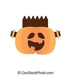 halloween pumpkin with frankenstein face flat style icon