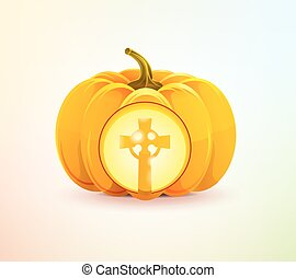 Halloween pumpkin with grave cross shining