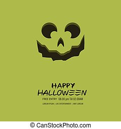 Halloween pumpkin with happy face background. Vector Illustration.