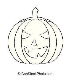 halloween pumpkin with happy face cartoon