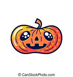 Halloween pumpkin with happy face isolated on white background.