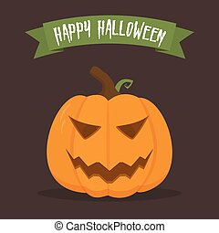 Halloween pumpkin with happy face on dark background. Vector cartoon Illustration.