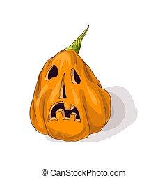 Halloween pumpkin with happy face on dark background. Vector Illustration.