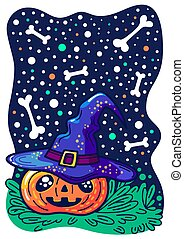 Halloween pumpkin with happy face on starry background.