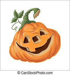 Halloween pumpkin with happy face on white background.