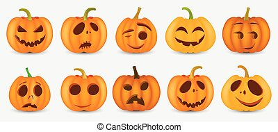 Halloween pumpkin with happy face on white background. Vector cartoon Illustration. EPS10.