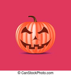 Halloween pumpkin with happy face on white background. Vector cartoon Illustration.
