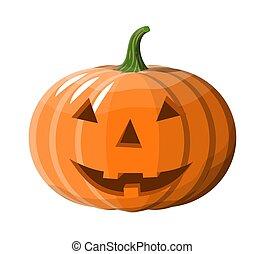 Halloween pumpkin with happy face.