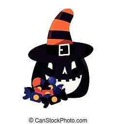 halloween pumpkin with hat candies
