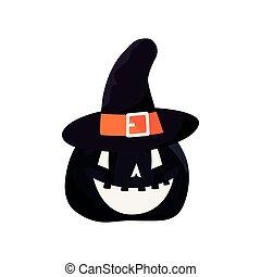 halloween pumpkin with hat decoration