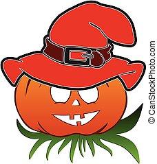Halloween pumpkin with hat