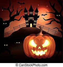 halloween pumpkin with haunted castle in dark night
