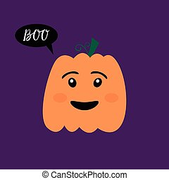 Halloween pumpkin with inscription boo.