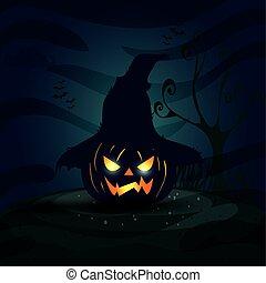 halloween pumpkin with scarecrow hat in dark night