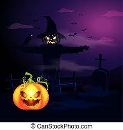halloween pumpkin with scarecrow in dark night