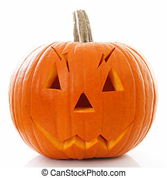 Halloween pumpkin with scary face isolated on white background