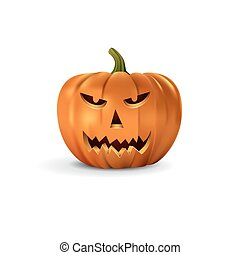 Halloween pumpkin with scary face. Vector halloween design element.
