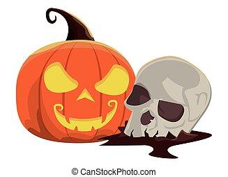 halloween pumpkin with skull head