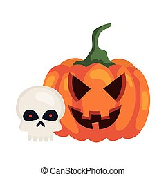 halloween pumpkin with skull on white background